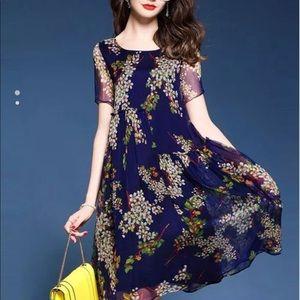 Dresses & Skirts - Floral Asymmetrical Ruffle Dress Navy Med LAST ONE